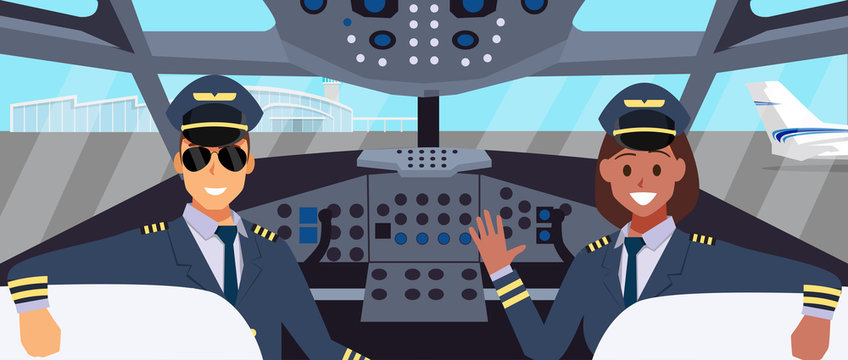 Pilots in cockpit flat design. with man and woman pilot character