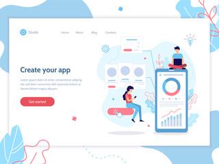 Modern vector illustration concept. Mobile app development. Web banner design template. Teamwork project. Flat vector illustration.