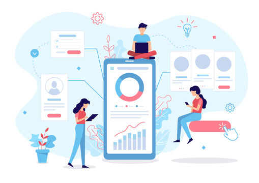 App development flat conceptThe development team creates a mobile application. Business concept. Flat vector illustration.