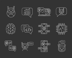 Chatbots chalk icons set