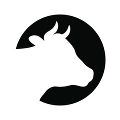 Sign head cow. Icon cow. Isolated white silhouette head cow in the circle on black background. Vector illustration