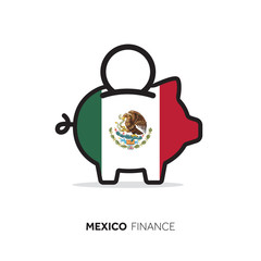 Mexico economic concept. Piggy bank with national flag.