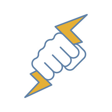 Hand holding lightning bolt color icon