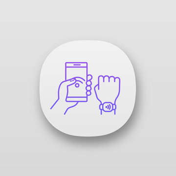 NFC bracelet connected to smartphone app icon