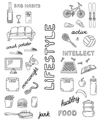 Set of sport and unhealthy lifestyle hand-drawn icons isolated on white background. Doodle equipment for fitness and bad habits.. Black and white sketched illustration