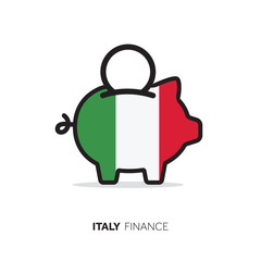 Italy economic concept. Piggy bank with national flag.