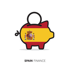 Spain economic concept. Piggy bank with national flag.