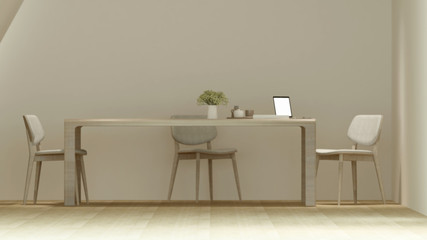 Dining area or workplace in coffee shop and restaurant minimal design - Blur focus - 3D Rendering