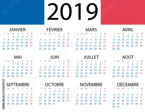 Calendario 2019 Illustrator.Calendario Frances 2019 Con Fiestas De Francia Stock Image