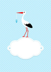 Baby Card Boy Stork Pacifier Cloud Blue