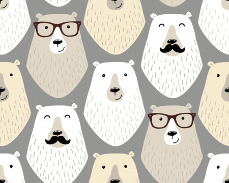 Cute childish seamless pattern with cartoon characters of different hipster bears with mustache and eye glasses