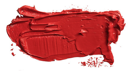 Textured hand drawn red oil paint brush stroke painting, convex with shadows, isolated on white background