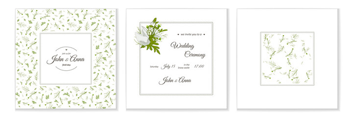 Greeting card with flowers bouquet - white camomiles.