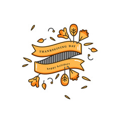 Vector linear design composition for Thanksgiving day greetings card. Typography ang icon for autumn holiday background, banners or posters and other printables.