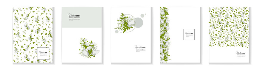 Floral posters, banners, greeting card - white Sweet pea.