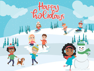 Winter fun. Illustration of kids playing outdoors in winter. Vector illustration