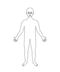 Human body black and white contour, anatomy background, vector