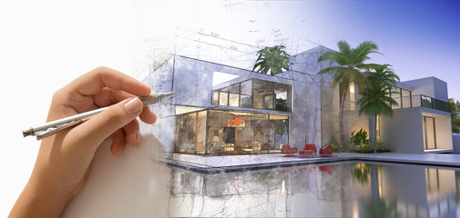 Hand drafting a designer villa with pool