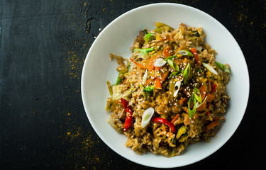 Delicious risotto with vegetables in a plate