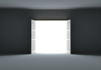 Doors opening to show bright light in the darkness