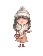 watercolor girl with dark hair