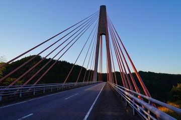 夕日を浴びた鮎の瀬大橋の風景