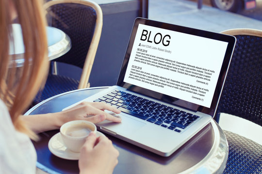 blog concept, woman blogger reading and writing online on screen of computer