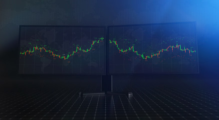 Futuristic stock exchange scene with charts, numbers and world trading map displayed on multi screens (3D illustration)