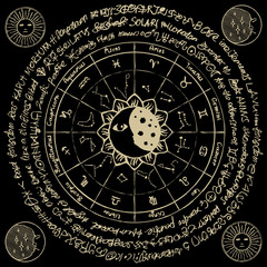 Vector circle of the Zodiac with icons, names, signs, constellations, Sun and Moon on the black background with ancient inscriptions in retro style