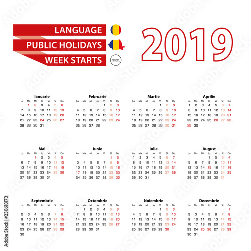"""Calendar 2019 in Romanian language with public holidays ..."