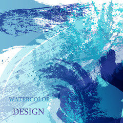Colorful abstract watercolor texture stain with splashes. Modern creative watercolor background for trendy design.