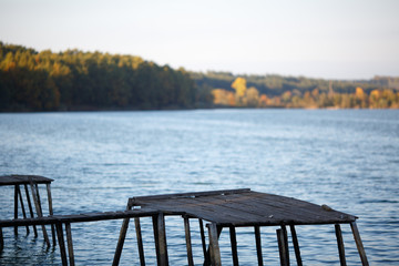 Fisherman's wooden pier against the big lake