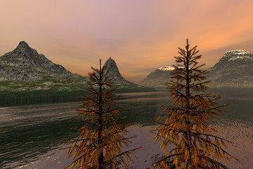 Coniferous trees, an autumn landscape, beautiful waters in the lake, snowy mountain peaks and orange clouds in the sky.