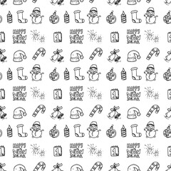 Seamless pattern hand drawn winter set. Doodle black sketch. Sign symbol. Decoration element. Isolated on white background. Flat design. Vector illustration
