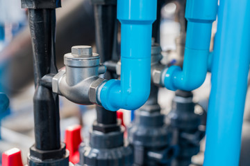 Check valve used to prevent backflow of water in pipes.selective focus.