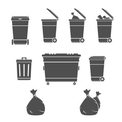 Garbage Bins Illustration Set silhouette.