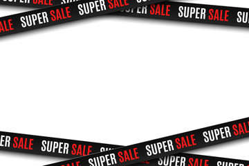 Black ribbons for super sale isolated on white background. Stripes for your design. Big sale. Graphic elements. Vector illustration