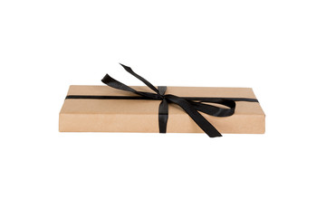 Gift box with black ribbon isolated on white background. holiday concept you you design. perspective view