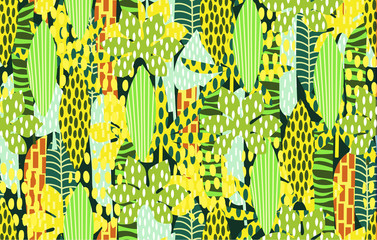 Tropical palm leaves vector seamless pattern for textile, packaging, Wallpaper. Abstract ornament with leaves
