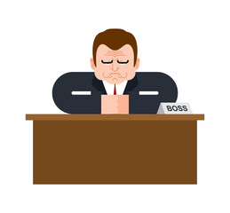 Boss on desk. Businessman on table. Business man in office Vector illustration