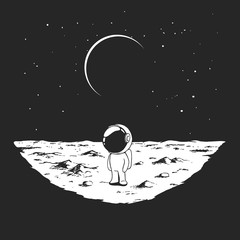 Cute astronaut stands alone on Moon surface. Prints design. Hand drawn vector illustration