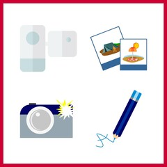 4 photo icon. Vector illustration photo set. photography and camcorder icons for photo works