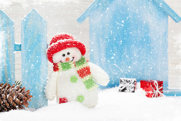 Christmas snowman toy and gift box decor