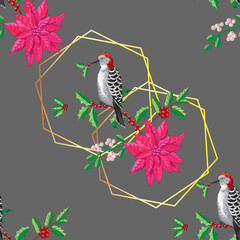 Seamless Pattern Christmas Decoration with Bird and Poinsettia
