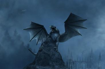 3d Fantasy aggressive dragon on the rock