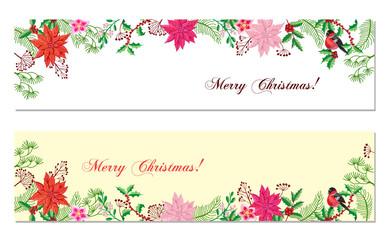 Christmas Banners Set with Christmas Decorations