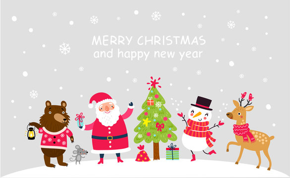 Christmas card with Santa and animals