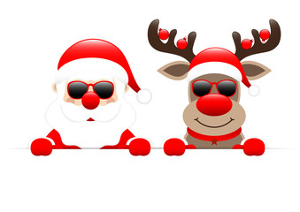 Banner Santa & Rudolph Christmas Balls Sunglasses Red Star