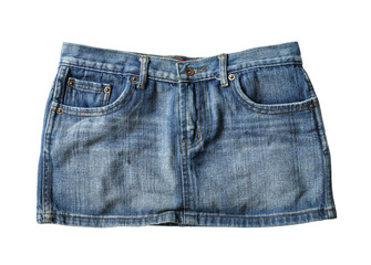 Jeans mini skirt (with clipping path) isolated on white background