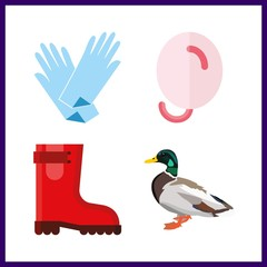 4 rubber icon. Vector illustration rubber set. duck and balloons icons for rubber works